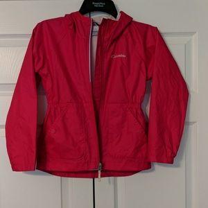 Bright pink rain jacket/wind breaker. Columbia